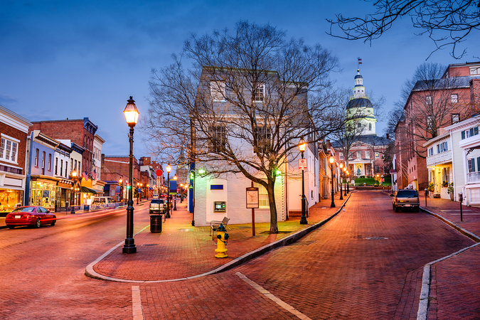 Downtown Annapolis with view of the State House