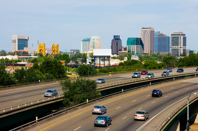 Downtown Sacramento visible from the freeways – easy access in and out of the city