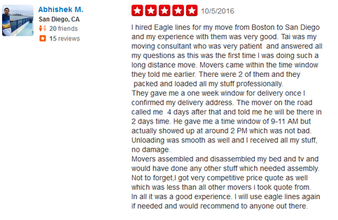 Eagle Lines Boston Moving Company - Moving review