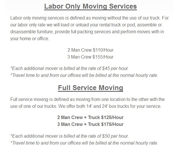 Eco Movers-Moving rates