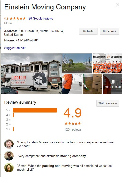 Einstein Moving Company – Location and reviews