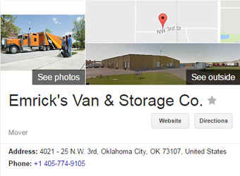 Emricks Van and Storage – Location