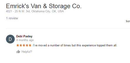 Emricks Van and Storage – Moving review