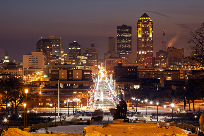 Enjoy the city skyline of Des Moines, Iowa at sunset