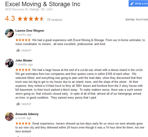 Excel Moving and Storage - Moving reviews