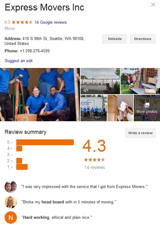 Express Movers – Location and reviews