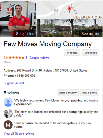 Few Moves Moving Company- Location