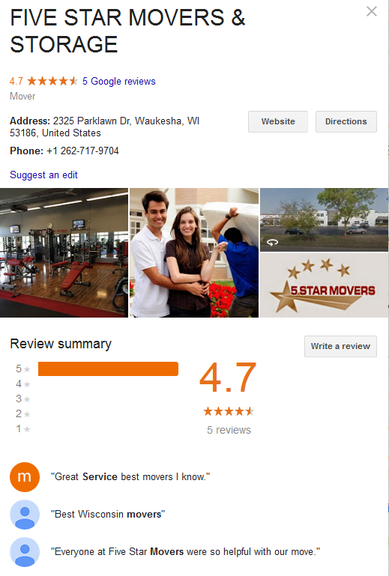 Five Star Movers and Storage – Location
