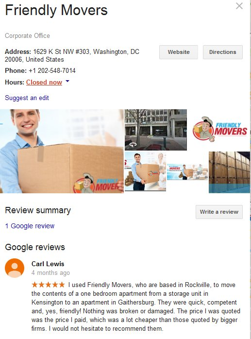 Friendly Movers – Location and reviews