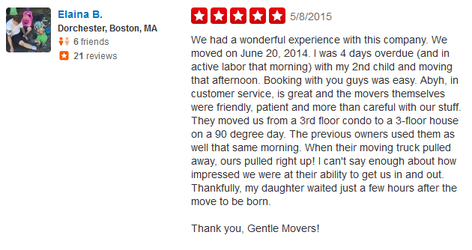 Gentle Movers Boston Moving Company - Moving review