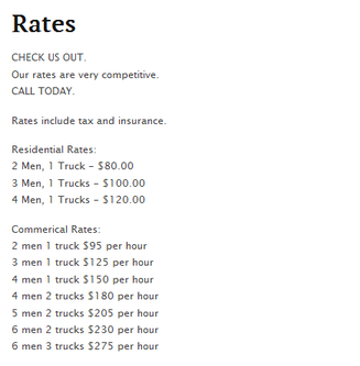 Gentlemen Movers – Moving rates