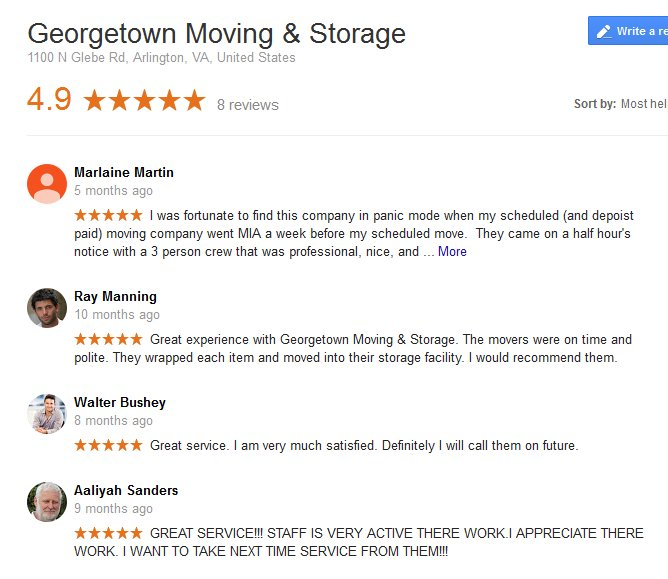 Georgetown Moving and Storage – Moving reviews