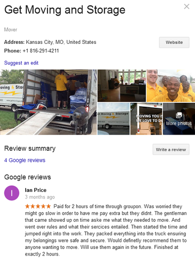 Get Moving and Storage – Location and reviews