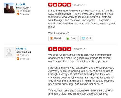 Good Stuff Moving - Moving reviews