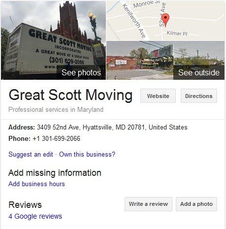 Great Scott Moving - Location