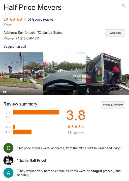 Half Price Movers - Location