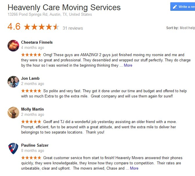 Heavenly Care Moving Services – Moving reviews