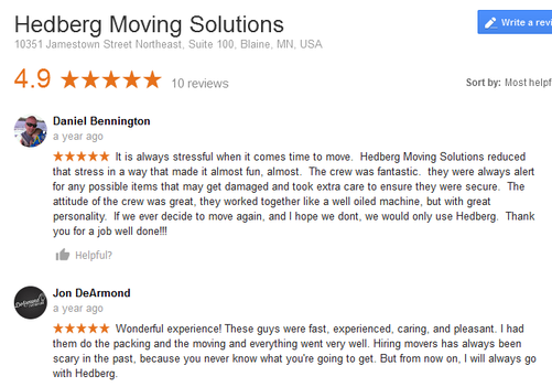 Hedberg Moving Solutions – Moving reviews