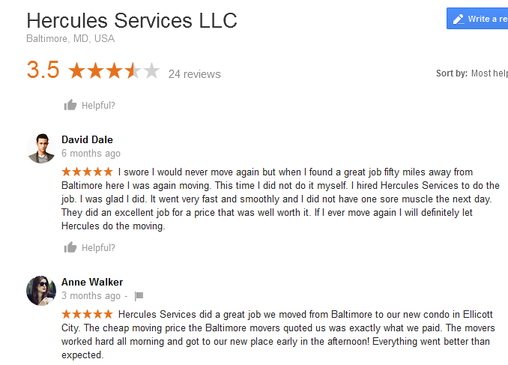 Hercules Services – Moving reviews
