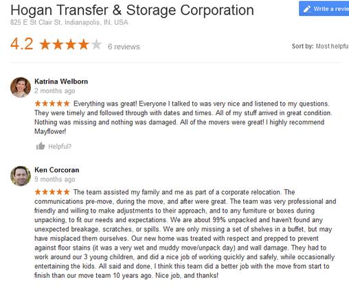 Hogan Transfer and Storage – Moving reviews