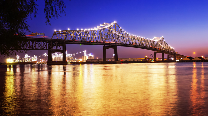 Horace Wilkinson Bridge crossing the Mississippi River in Baton Rouge