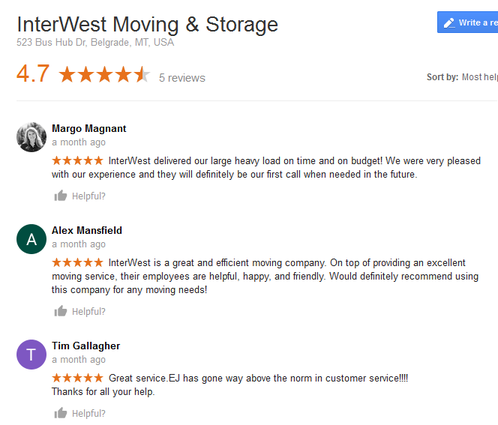 InterWest Moving and Storage - Moving reviews