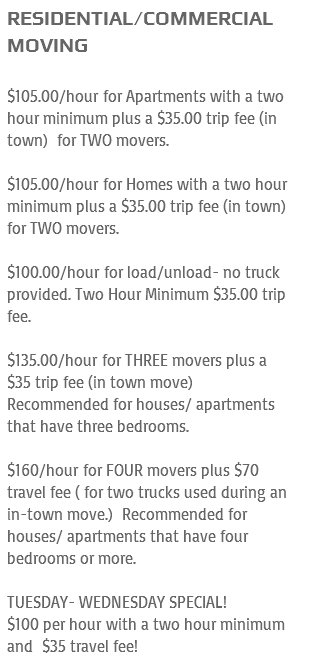 Jackson Moving and Delivery – Moving rates