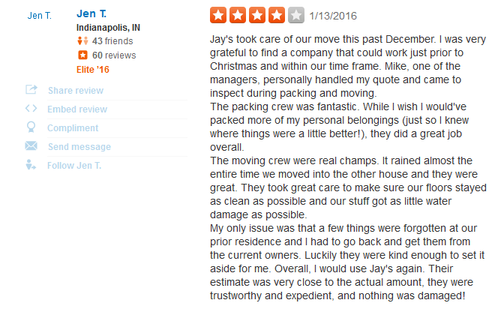 Jays Moving Co – Moving reviews