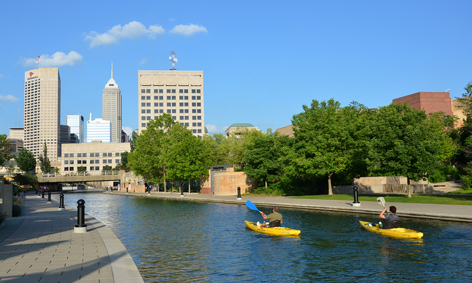 Kayakers enjoying in Indianapolis Central Canal downtown – famous also for walking and jogging