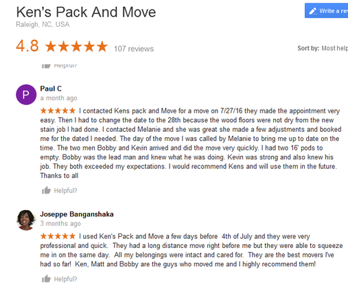 Kens Pack and Move - Moving reviews