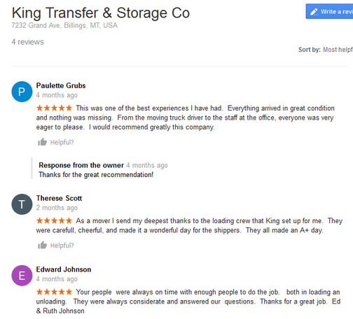 King Transfer and Storage - Moving reviews