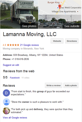 Lamanna Moving LLC – Location