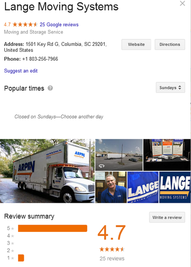 Lange Moving Systems - Location