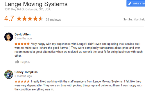 Lange Moving Systems – Moving reviews