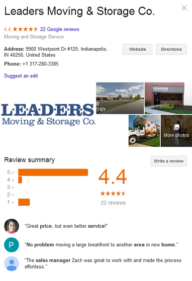 Leaders Moving and Storage – Location