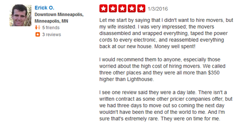 Lighthouse Moving - Moving review