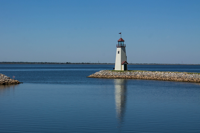 Lighthouse in Lake Hefner – Oklahoma City iconic landmark