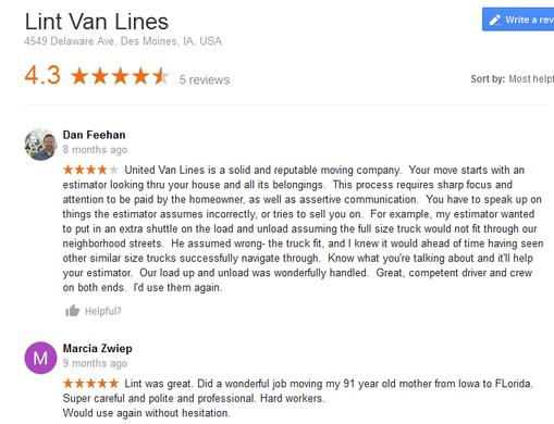 Lint Van Lines – Moving reviews