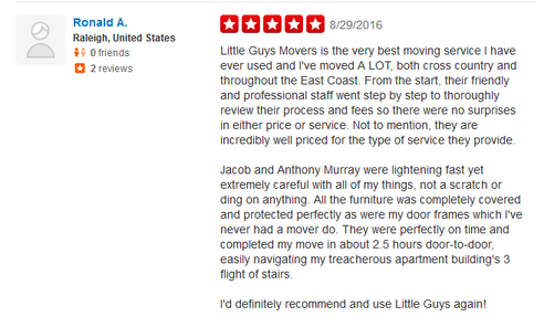 Little Guys Movers - Moving reviews