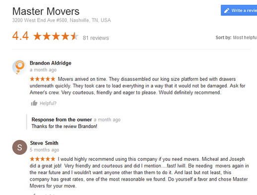 Master Movers – Moving reviews