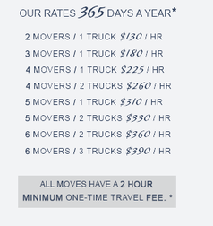 Matts Moving - Moving rates