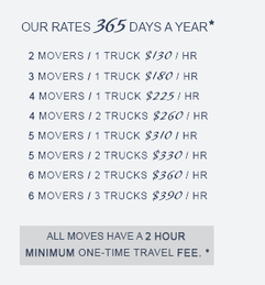 Matts Moving – Moving rates