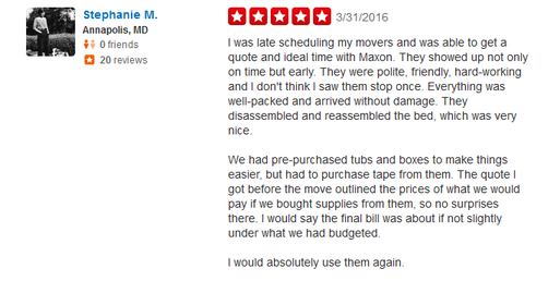 Maxon Movers – Moving review