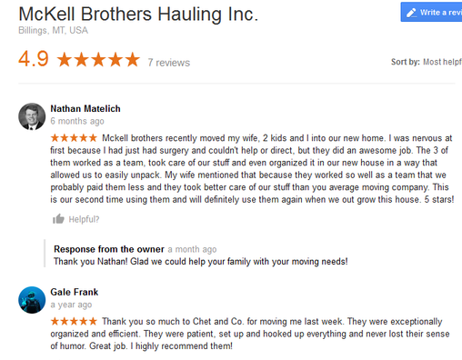 McKell Brothers Hauling - Moving reviews