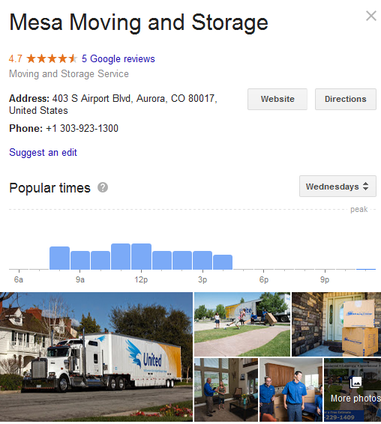 Mesa Moving and Storage – Location