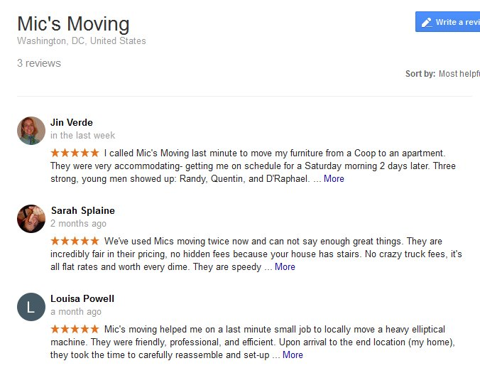 Mic's Moving – Moving reviews