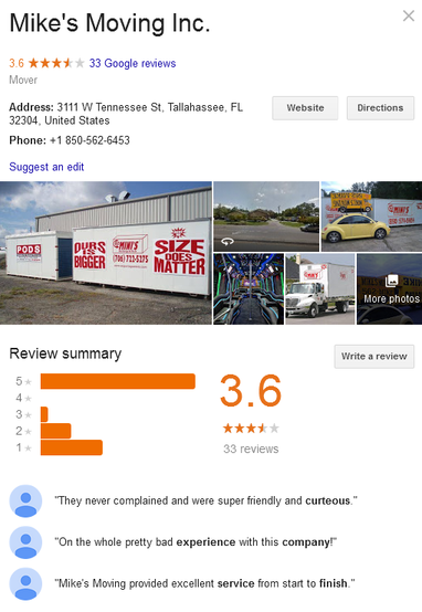 Mike Moving and Storage – Location and reviews