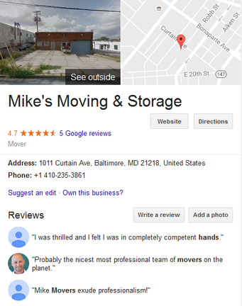 Mike Moving & Storage – Moving Location
