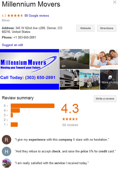 Millennium Movers – Location and reviews