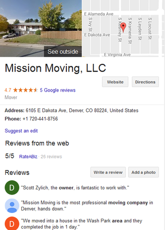 Mission Moving – Location and reviews